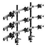 HFTEK 9-Fach Monitorarm Tischhalterung Stand Halterung Halter für 9 Bildschirme von 15-27 Zoll auf 3 Ebenen - VESA 75/100 (MP290C-L)