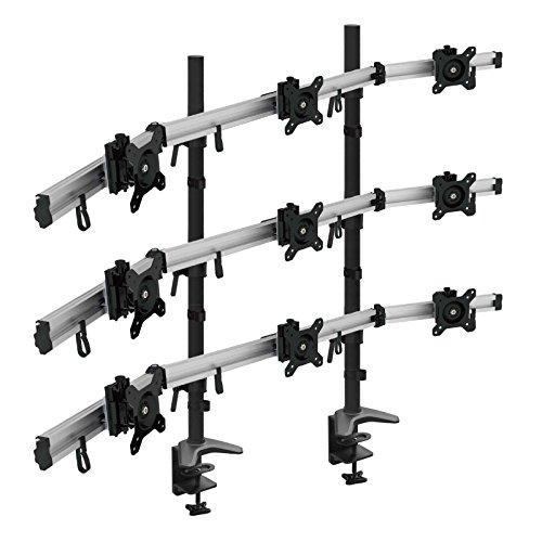 HFTEK 9-Fach-Monitorarm Tischhalterung Stand Halterung Halter für 9 Bildschirme von 15-27 Zoll auf 3 Ebenen - VESA 75/100 (MP290C-L)