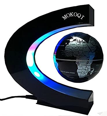 Floating Globe With LED Lights,MKQPOWER C Shape Magnetic World Map Levitation Floating Globe Rotating Magnetic Mysteriously