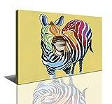 bestpricepictures 80 x 60 cm Bild auf Leinwand Buntes lachendes Zebra 4003-SCT deutsche Marke und Lager - Die Bilder/Das Wandbild/der Kunstdruck ist fertig gerahmt