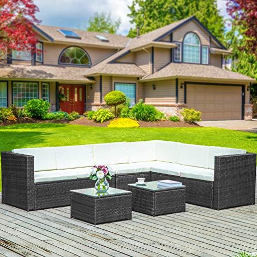 Wicker Outdoor-esstisch (Keyobesa Wicker Rattan Esstisch Möbel Gartenstuhl Außenbereich Patio Konservatorium 6 Sitz)