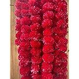 Evisha 5 Pcs Artificial Flowers Marigold Garlands for Diwali Decoration for Doors Windows Walls Festival Home Décor Size 4.9