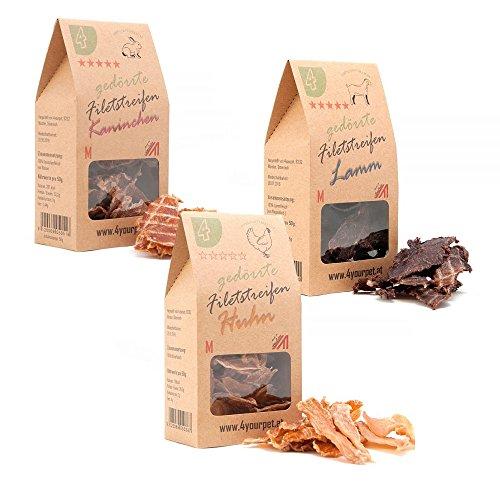 4yourpet 1000 Dörrfleisch, Hundesnack, Katzensnack, Trockenfleisch 3er Snack-Pack aus 100% natürlichen Fleisch aus Österreich