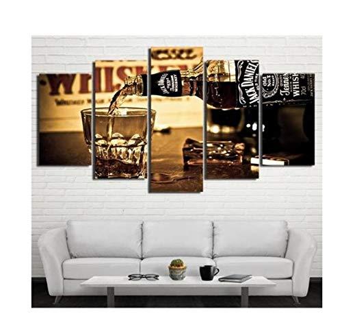 Pmhhc Moderne 5 Stücke Wanddekor Bilder Für Esszimmer Haus Wohnzimmer Dekoration Gießen Wein Glas Kunst Malerei Keine Frames-30X40Cmx2 30X60Cmx2 30X80Cm