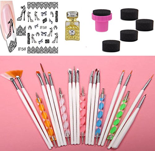 BELLA COQUI NET Kit 20 pinceaux Dotting Tool pour nail art ongle + 1 FEUILLE STICKERS + 1 PETIT STRASS MOTIF PETITE BOUTEILLE + 1 TAMPON 5 EPONGES A DEGRADE