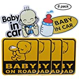 GCOA 6pcs Baby on Board / Baby in Car Sticker Sign Reflective Car Sticker Tank Sticker (Glue), Water Proof 12 x 12 cm
