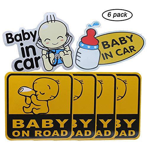 (GCOA 6pcs Baby on Board/Baby in Auto-Aufkleber-Zeichen Reflektierende Auto Aufkleber Tankaufkleber (Klebstoff), Wasser-Beweis, 12x 12 cm)