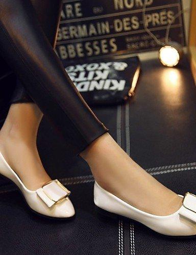 Chaussures Femme Shangyi - Ballerines - Bureau Et Travail / Formel / Décontracté - Confortable / Ballerine - Bas - Brevet - Noir / Rose / Blanc Blanc