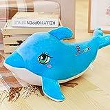 CHENGYI Delphin-Haar-Griff-Kissen-Ausgangskarikatur-reizendes Kind-weiches Spielzeug-Sofakissen ( Farbe : Blau , größe : 45 cm )