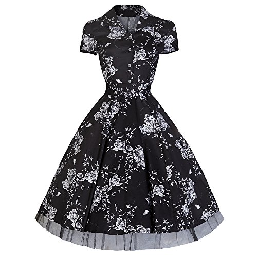 23d00d257296 Pretty Kitty Fashion 50S Noir Blanc Floral rétro Swing Robe - Noir - Small  = 10