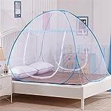 LUSTAR® Moskitonetz Doppelbett Canopy Polyester Für Zuhause Insektenschutz 1 2 M Oder 1 8 M Bett Indoor Dekorative Doppeltür Design,Blue-1.5*1.95m