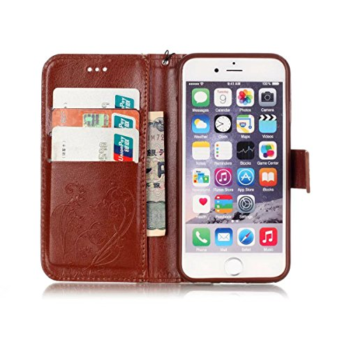 JIALUN-Telefon Fall Mit Kartensteckplatz, Lanyard, Druck Schöne Muster Mode Open Handy Shell Für Apple IPhone 6 6S 4,7 Zoll ( Color : Black , Size : IPhone 6S 6 ) Brown
