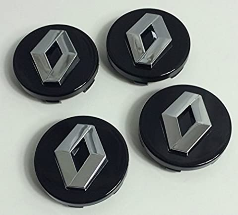 4 x 60 mm Alloy Wheel Moyeu Center Caps Renault Noir Chrome Logo Set de quatre
