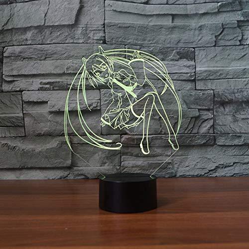 3D Nachtlicht Anime Girl 3D Nachtlicht Touch Taste Tischlampe Usb 7 Farbwechsel Led Beleuchtung Dekoration Anime Cosplay Fan Geschenke