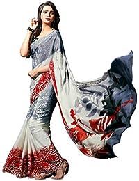 Jaanvi Fashion Women's Crepe Printed Saree (Black_White)