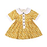 Livoral Baby Madchen Kleidung Kleinkind Baby Kinder Mädchen Blumendruck Patchwork Casual Kleider Kleidung(Gelb,100)