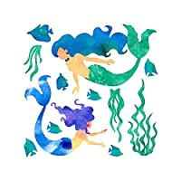 Ruiting Cartoon Mermaid Wall Sticker Creative Wall Decal Kids Room Living Room Removable Mermaid Wall Paper