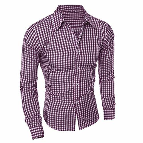 QIYUN.Z Männer Schlanke Passform Revers Shirts Lange Ärmel Plaid Button Unten Kleid Hemden Lila