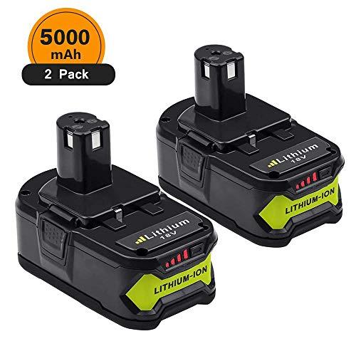 2 Stück 5.0Ah Lithium Ersatz für Ryobi 18V Batterie ONE +RB18L50 RB18L25 RB18L15 RB18L13 P102 P103 P104 P105 P108 P107 P122