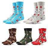 RioRiva Socken Herren - Fein Baumwoll - Gemustert und Bunt - Europäische Qualität - Mehrfachpack (BSK76-5 Paare Mehrfarbig, EU 41-46/UK 8-12)