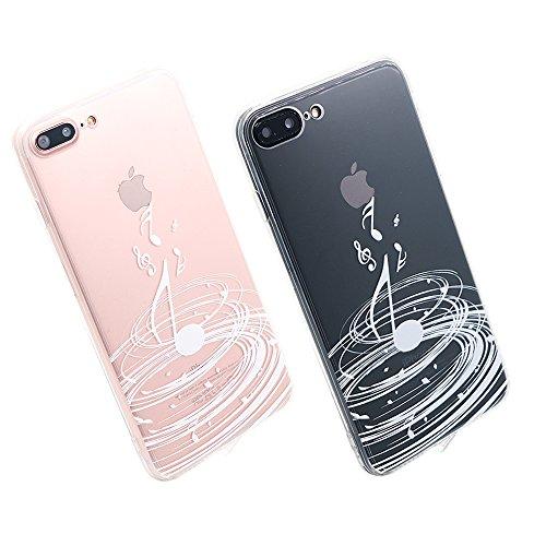 Coque iPhone SE, TrendyBox Transparent PC Hard Cover avec soft TPU Pare-chocs pour iPhone 5/5S/SE avec verre trempe film de protection (Musique blanche) 108