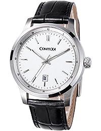 Comtex Montre Hommes Quartz Analogique avec Bracelet en Cuir Noir Cadran Blanc Fenêtre de Date