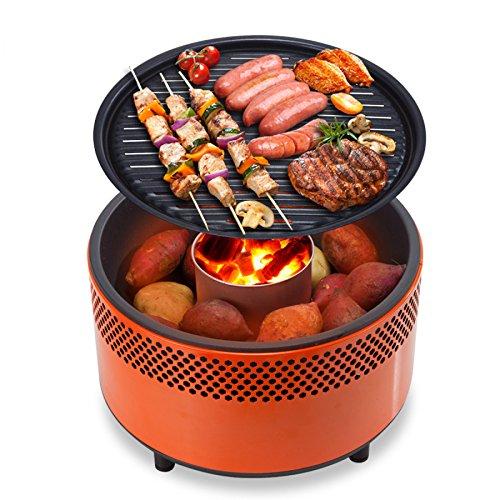 Gril Barbecue Grill Charcoal Grill Maison Portable Grill Extérieur Coupe-vent Sans Fumée Charbon De Bois Grill,Orange