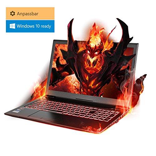 Gaming Laptop Kiebel Hellfire 8.0 (15.6 Zoll 39.6cm) Gamer Notebook nVidia GeForce 1050Ti 4GB, wählbar: bis Intel i7 8700, bis 32GB DDR4, bis 2TB SSD, selbst zusammenstellen mit Konfigurator -
