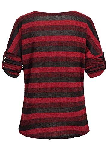 Violet Fashion Damen Shirt Krempelarm gestreift Rückenteil längerbordeaux schwarz Bordeaux Schwarz