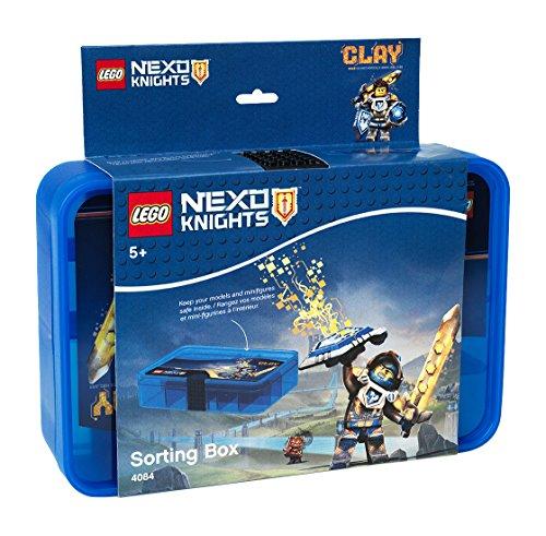 LEGO 40841734 Nexo Knights Sortierbox, Aufbewahrungsbox/-Kasten mit Fächern, Plastik, Transparent Blau, 26.7 x 17.8 x 6.8 cm, 6 Einheiten (Lego Flasche)