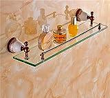 Bathroom Racks LQ Badezimmer Regale Ständer Doppel-Waschtisch Dressing Gold-Handtuchwärmer Europäische Badezimmer Hängende Antike Badezimmer Regal Badezimmer Einzelglasregal (Farbe : 2#)