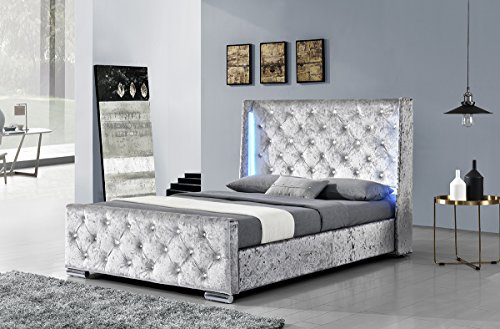 Dorchester Led Winged Headboard With Diamantes Silver Crushed Velvet