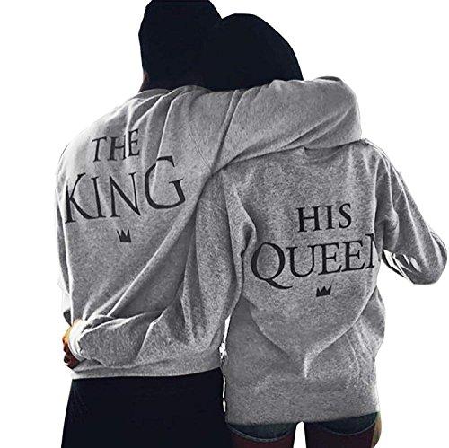 Paar Pullover Pärchen Sweatshirt Langarm Rundhals King und Queen Druck Pullover für Herbst und Frühling (King-M+Queen-M, Grau) -