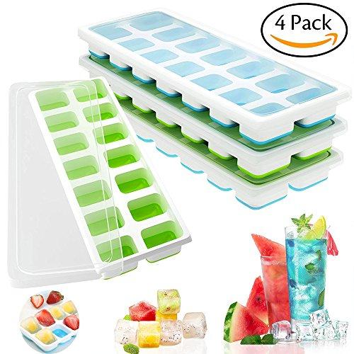 Bandejas de silicona para cubitos de hielo con tapas, VI AI 4 tapas extraíbles incluidas con certificación LFGB de silicona sin BPA, moldes para cubitos de hielo para comida de bebé o cóctel