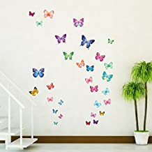 Decowall DW-1302 30 Mariposas Vibrantes Vinilo Pegatinas Decorativas Adhesiva Pared Dormitorio Salón Guardería Habitación Infantiles Niños