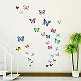 Decowall DW-1302 30 Farfalle Vivaci Adesivi da Parete Decorazioni Parete Stickers Murali Soggiorno Asilo Nido Camera da Letto per Bambini