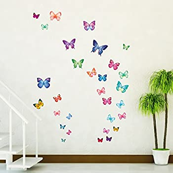 Decowall dw 1302 30 vibrant butterflies kids wall stickers wall decals peel and stick removable