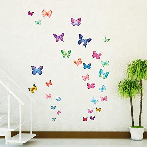 Decowall DW-1302 30 Leuchtende Schmetterlinge Tiere Wandtattoo Wandsticker Wandaufkleber Wanddeko für Wohnzimmer Schlafzimmer Kinderzimmer (Kid Schlafzimmer-möbel)