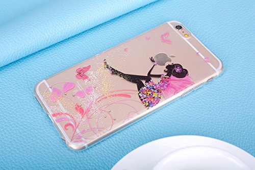 JAWSEU Coque pour iPhone 7 Plus,iPhone 7 Plus Silicone Etui Ultra Slim,iPhone 7 Plus Soft Cover Proective Case,2017 Neuf Design Noctilucent Flash Funny Pattern Femme Homme TPU Case Ultra Mince Doux Ge Flower Fairy