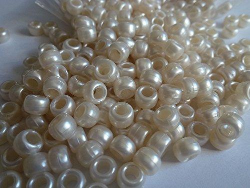 100x Pony Perlen 9mm x 6mm Cream Pearl Armbänder Flechten Clips Haar Farbe Acryl Kunststoff, fassförmig, rund -