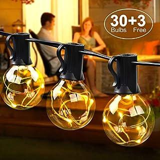 LED Lichterkette außen G40 10.7M Lichterkette mit 30 Birnen, IP44, MYCARBON Outdoor/Indoor Lichterkette Glühbirnen mit stecker Deko für Zimmer, Bar, Garten, Balkon, Party (3 Ersatzbirnen, Warmweiß)
