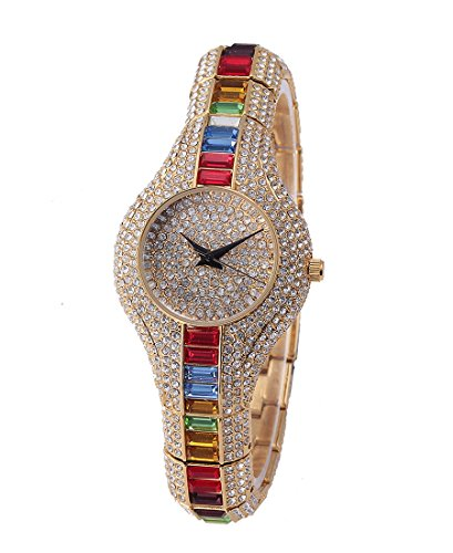 Sheli Bambina Newest placcato oro diamanti Giappone analogico al quarzo Resistente all' acqua Orologio per Donna