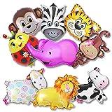 BESYZY Animal Feuille D'aluminium Ballons Gonflé de tête d'animal Ballon Aluminium Helium Jouets pour Le Mariage pour la Décoration de Fête d'anniversaire d'enfants(9 PCS)