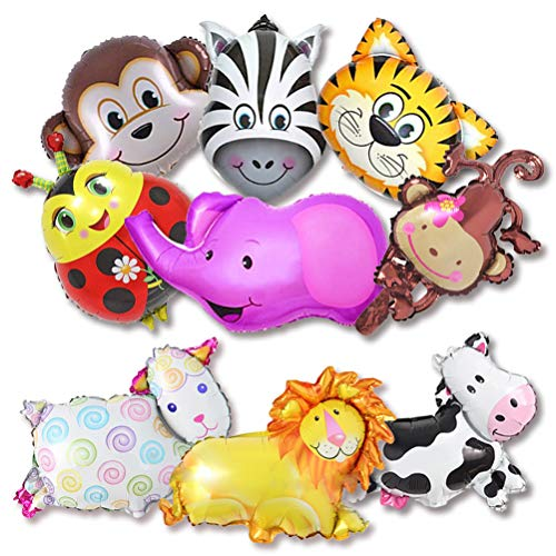 BESTZY 9 STK Tier Folienballon Tierkopf Helium Ballons Kit für Kinder Geburtstag Party Dekoration Spielzeug