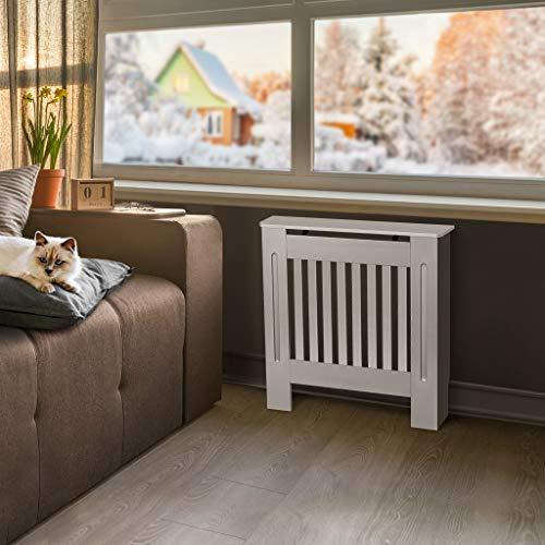 Cubierta de radiador de armario, pintada a mano, diseño moderno de densidad media, color blanco MDF, Blanco, Small