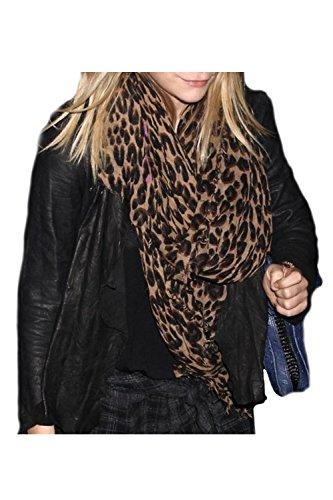 Frauen Elegante Stilvolle Warm Leopardenmuster Schal Schal Lange Schals Black One Size