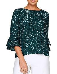 feiXIANG❤ Camisa de Lunares Suelta de Las señoras de la Manga de la Campana de Las Mujeres de la Moda Tops Casuales de la Blusa Otoño e…
