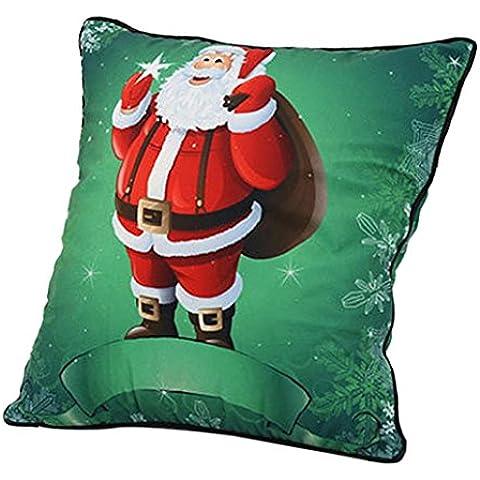 Malloom® Vintage dibujos animados de Navidad Papá Noel Sofá Cojines fundas cushion cover (verde)