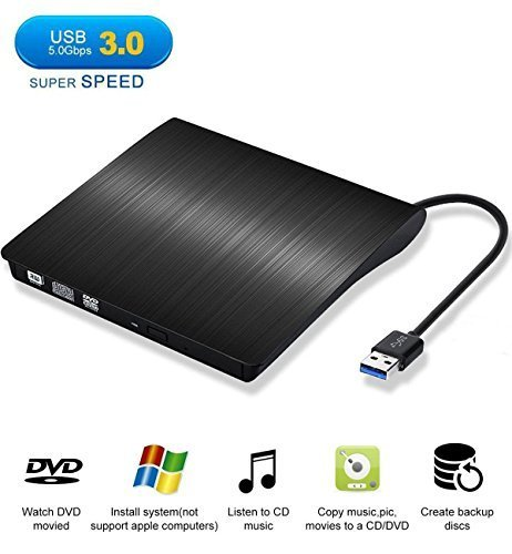 Externes CD DVD Laufwerk USB 3.0, Sopoby DVD CD Brenner DVD-RW für Macbook, Macbook Pro, Macbook Air, iMac OS, Windows Vista/XP/7/8/10 / Desktop Notebook -Schwarz ( Neue Version )