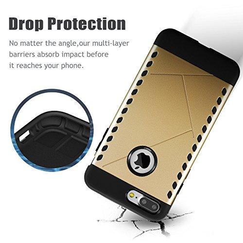 Coque iphone 8 plus & iPhone 7 plus,[Navy Shield Rugged Amor ] Design Métallique cover Protection des Chutes et Impacts Maximal, Bumper case pour iphone 8 plus & iPhone 7 plus 5.5 inch(or coussin) oro